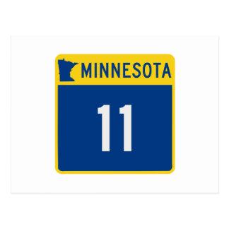 Carte Postale Route 11 de tronc du Minnesota