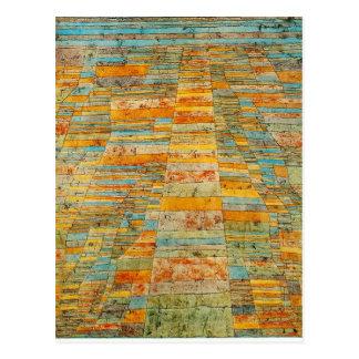 Carte Postale Route et chemins détournés par Paul Klee