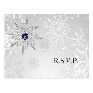 Carte Postale rsvp argenté de mariage d'hiver de flocons de