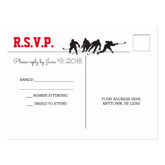 Carte postale RSVP d'amour d'hockey