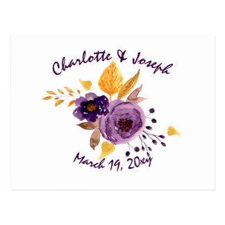 Carte Postale Rsvp floral pourpre de mariage de prune
