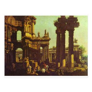 Carte Postale Ruines d'un temple par Bernardo Bellotto