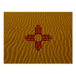 Carte Postale Sable de dessert de drapeau du Nouveau Mexique