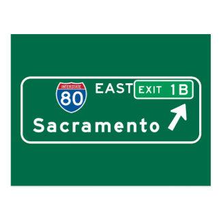 Carte Postale Sacramento, panneau routier de CA
