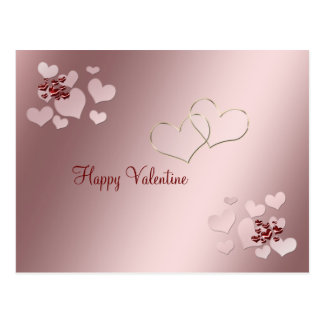 Carte Postale Saint-Valentin de deux coeurs