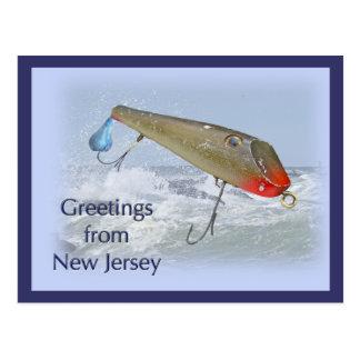 Carte Postale Salutations d'attrait de pêche de New Jersey