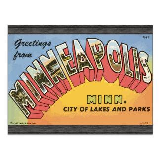 Carte Postale Salutations de Minneapolis Minnesota, cru