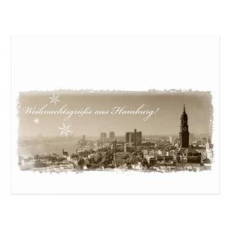 Carte Postale Salutations de Noël de Hambourg, Weihnachtskarte,
