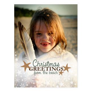 Carte Postale Salutations de Noël des vacances de plage