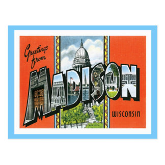Carte Postale Salutations de ville de Madison le Wisconsin USA