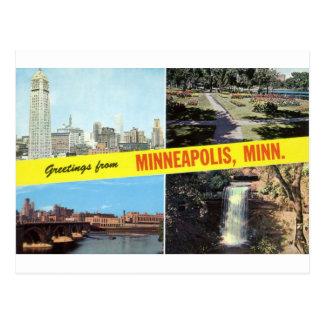 Carte Postale Salutations des années 1950 de Minneapolis