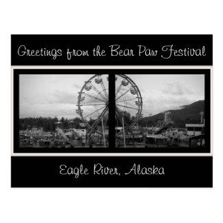 Carte Postale Salutations du Festival-Alask de patte d'ours