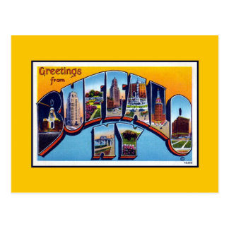 Carte Postale Salutations vintages de Buffalo NY