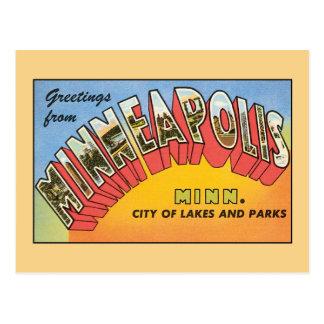 Carte Postale Salutations vintages de Minneapolis Minnesota