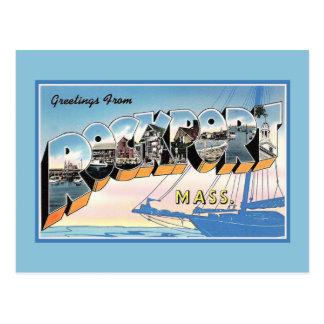 Carte Postale Salutations vintages de Rockport le Massachusetts