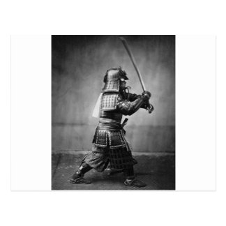 Carte Postale Samouraïs vintages avec le portrait d'art d'épée