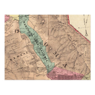 Carte Postale Santa Rosa, Vallejo, et banlieues noires de Sonoma
