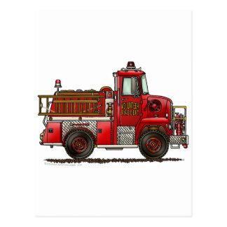 Carte Postale Sapeur-pompier volontaire de camion de pompiers