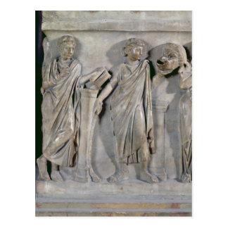 Carte Postale Sarcophage des Muses, détail de Clio et