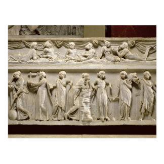Carte Postale Sarcophage des Muses, romain (marbre)
