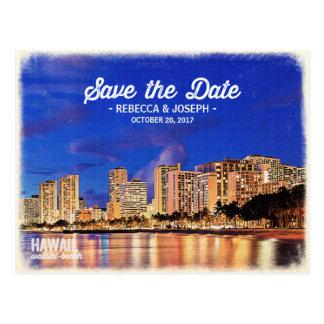 Carte Postale Sauvez la peinture vintage de plage d'Hawaï
