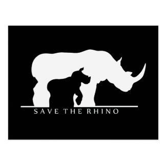 Carte Postale Sauvez le rhinocéros