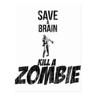 Carte Postale Sauvez une mise à mort de cerveau un zombi