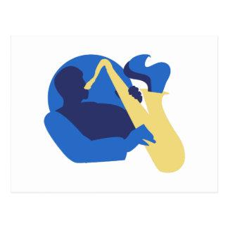 Carte Postale Saxo de bleus