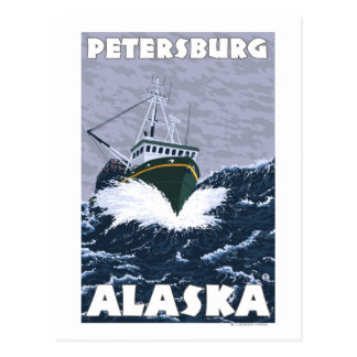Carte Postale Scène de bateau de pêche - Pétersbourg, Alaska