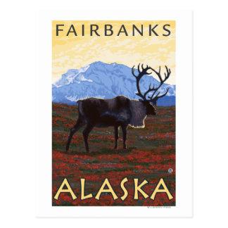 Carte Postale Scène de caribou - Fairbanks, Alaska