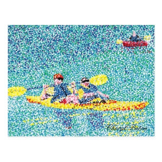 Carte Postale Scène de kayak de Pointillism sur la rivière