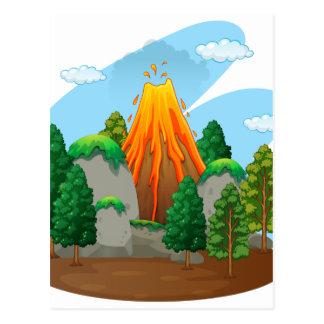 Carte Postale Scène de nature avec l'éruption de volcan