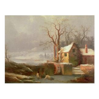 Carte Postale Scène de neige avec le moulin et les cottages