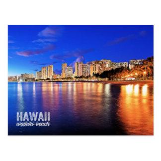 Carte Postale Scène de nuit de plage d'Hawaï Waikiki de peinture