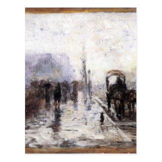 Carte Postale Scène de rue avec le chariot par T.C. Steele