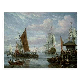 Carte Postale Scène d'estuaire avec les bateaux et le pêcheur