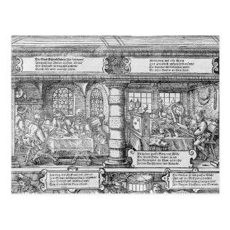 Carte Postale Scène d'opérations bancaires
