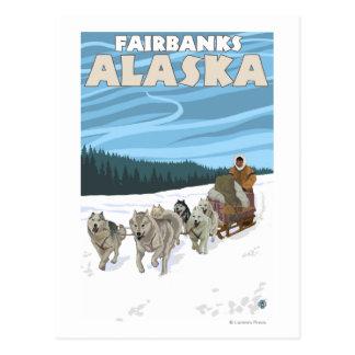 Carte Postale Scène Sledding de chien - Fairbanks, Alaska