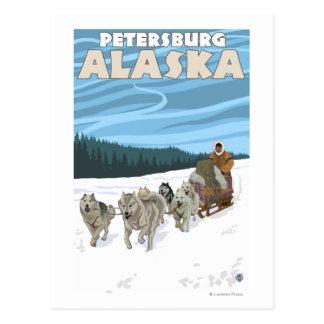 Carte Postale Scène Sledding de chien - Pétersbourg, Alaska