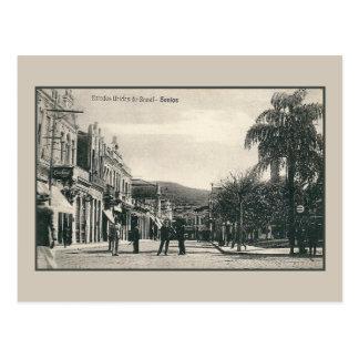 Carte Postale Scène vintage Brésil de rue de Santos des années
