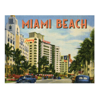 Carte Postale Scène vintage de rue de Miami Beach
