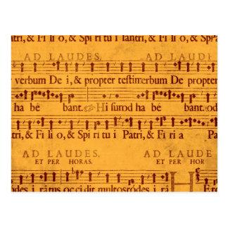 Carte Postale Score grégorien de musique de chant