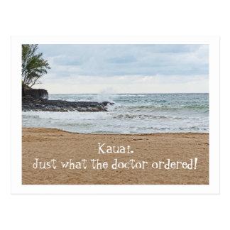 CARTE POSTALE SE BRISER DE KAUAI POSTCARD/DESERTED BEACH/WAVE