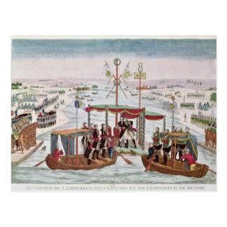 Carte Postale Se réunir entre le napoléon I et le tsar Alexandre
