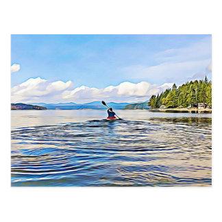 Carte postale sereine de photo de canoë de kayak