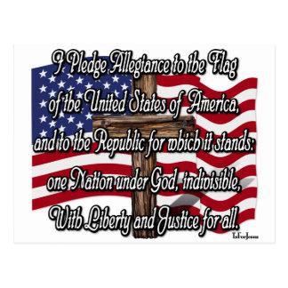 Carte Postale Serment de fidélité avec le drapeau et la croix