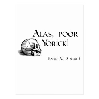 Carte Postale Shakespeare hélas Yorick pauvre