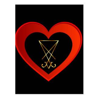 Carte Postale Sigil de Lucifer dans un coeur