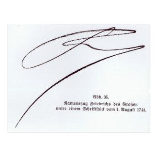Carte Postale Signature de Frederick le grand