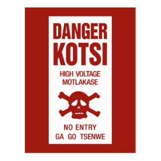 Carte Postale Signe à haute tension de danger, Botswana